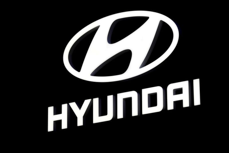 A Hyundai booth displays the company logo at the North American International Auto Show in Detroit