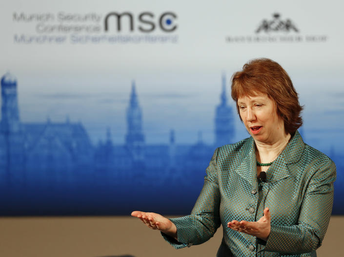 European Union Foreign Policy Chief Catherine Ashton attends a panel discussion during the 50th Security Conference in Munich, Germany, Sunday, Feb. 2, 2014. (AP Photo/Frank Augstein)