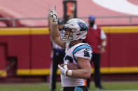 Carolina Panthers running back Christian McCaffrey (22) celebrates after scoring against the Kansas City Chiefs during the second half of an NFL football game in Kansas City, Mo., Sunday, Nov. 8, 2020. (AP Photo/Jeff Roberson)