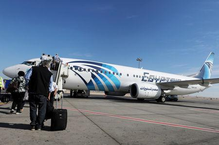 Passengers board an EgyptAir flight in Luxor, Egypt, November 26, 2018. REUTERS/Mohamed Abd El Ghany/Files