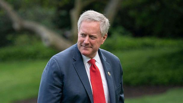 PHOTO: Mark Meadows exits Marine One on the South Lawn of the White House in Washington, on May 14, 2020. (Drew Angerer/Getty Images)