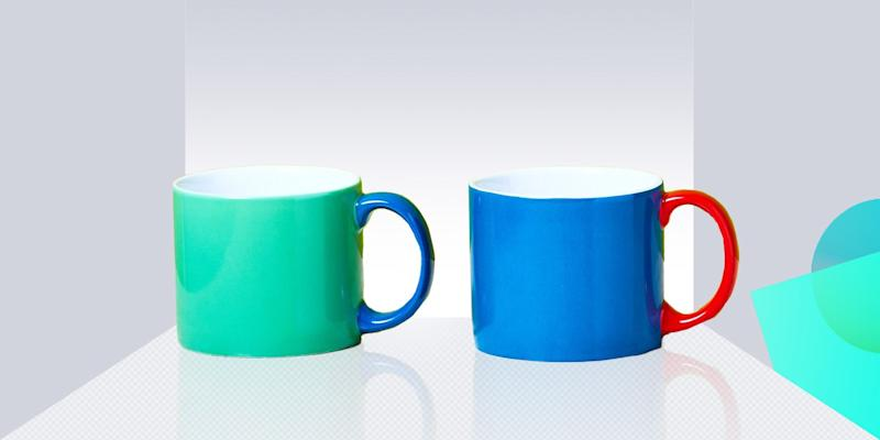 "We're suckers for color-blocked anything, so these bi-color stoneware mugs get an enthusiastic ""hell yes!"" from us. SHOP NOW: Ceramic mug by Jansen, $20, comingsoonnewyork.com"