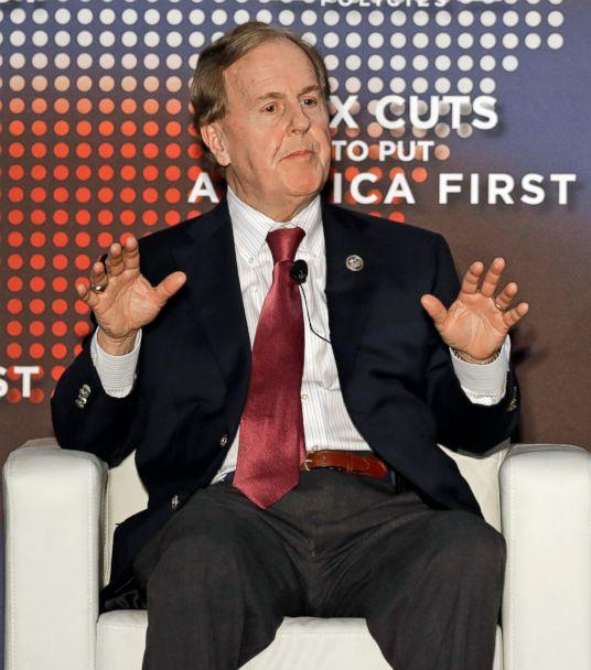 PHOTO: Rep. Robert Pittenger speaks at an event on tax policy in Charlotte, N.C., April 20, 2018. Pittenger features Trump prominently in his campaign. (Chuck Burton/AP)