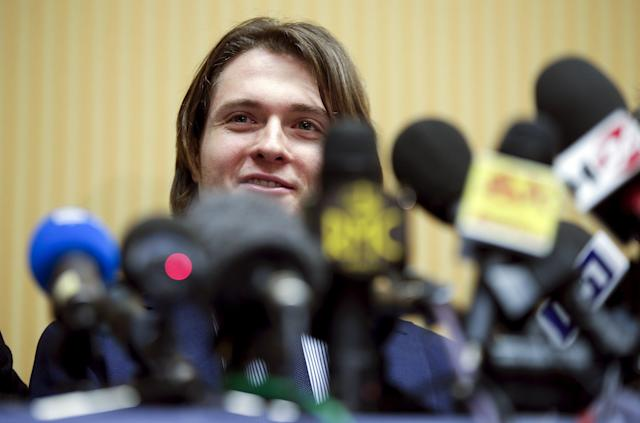 Raffaele Sollecito smiles as he leads a news conference in Rome March 30, 2015. Italy's top court on Friday annulled the conviction of American Amanda Knox for the 2007 murder of British student Meredith Kercher and, in a surprise verdict, acquitted her of the charge. The Court of Cassation threw out the second guilty verdict to have been passed on Knox, 27, and her Italian former boyfriend Raffaele Sollecito for the lethal stabbing. REUTERS/Max Rossi