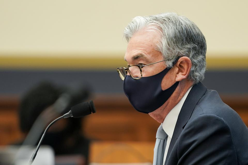 WASHINGTON, DC - DECEMBER 02: Federal Reserve Chairman Jerome Powell listens to a question during a House Financial Services Committee oversight hearing to discuss the Treasury Department's and Federal Reserve's response to the coronavirus (COVID-19) pandemic on December 02, 2020 in Washington, DC. Treasury Secretary Steve Mnuchin is also scheduled to testify.
