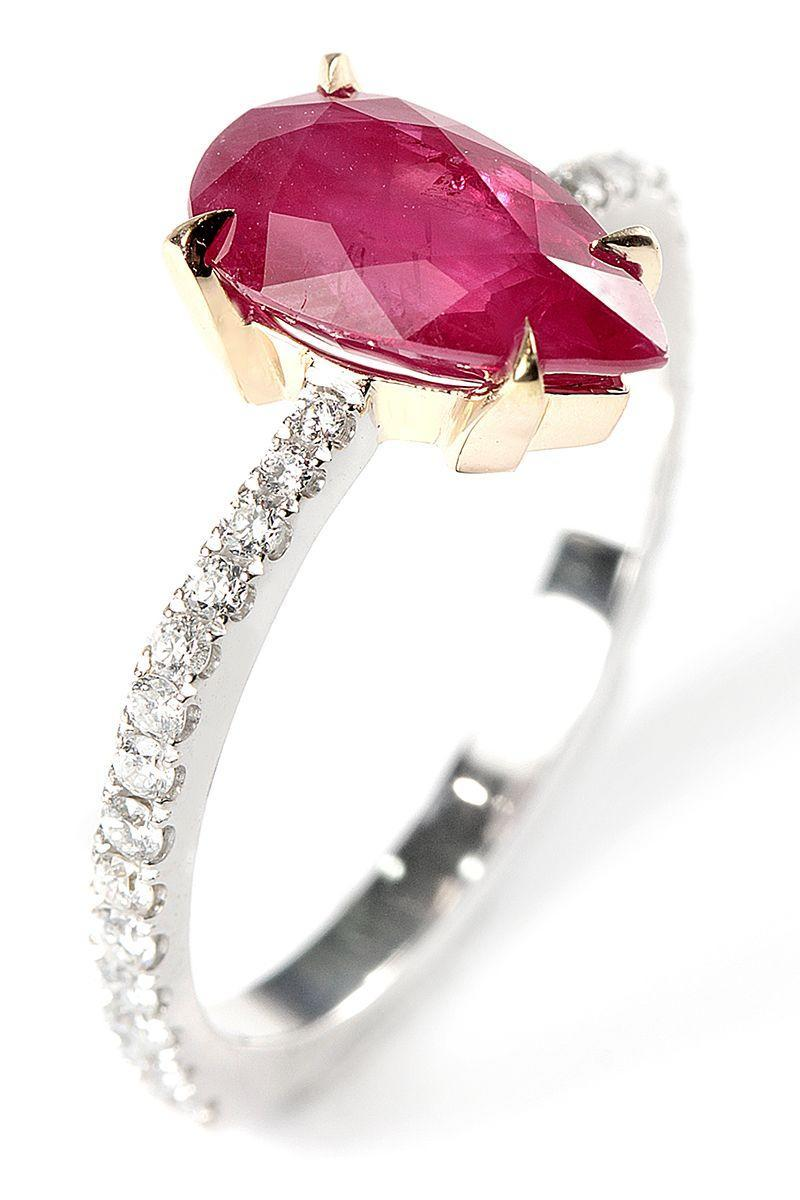 "<p>For the bride with a bit of edge, Ara Vartanian knows how to take any classic stone and make it slightly punk rock. Case in point: this mixed metal setting and pear-shaped ruby.<br></p><p><em>Ruby and white diamonds ring in 18K white gold, price upon request, </em><em><a href=""https://www.aravartanian.com/en/"" rel=""nofollow noopener"" target=""_blank"" data-ylk=""slk:aravartanian.com"" class=""link rapid-noclick-resp"">aravartanian.com</a></em><em>.</em></p><p> <a class=""link rapid-noclick-resp"" href=""https://www.aravartanian.com/en/"" rel=""nofollow noopener"" target=""_blank"" data-ylk=""slk:SHOP"">SHOP</a></p>"