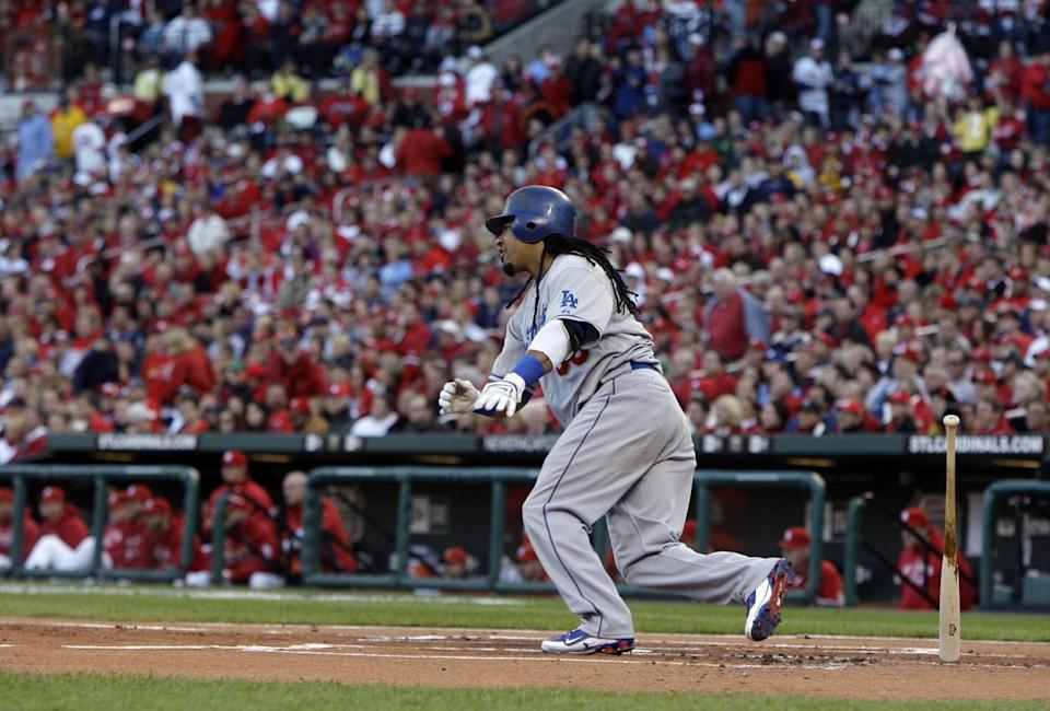 Dodgers left fielder Manny Ramirez runs after getting a hit during Game 3 in the 2009 NLDS.