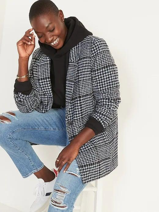 """<p>This <span>Old Navy Oversized Plaid Soft-Brushed Tweed Blazer</span> ($70) looks especially cool over your <a href=""""http://www.popsugar.com/fashion/best-women-sweatshirts-from-old-navy-48491673"""" class=""""link rapid-noclick-resp"""" rel=""""nofollow noopener"""" target=""""_blank"""" data-ylk=""""slk:favorite sweatshirt"""">favorite sweatshirt</a> on chilly days.</p>"""