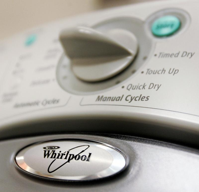 NILES, IL - MAY 12: A Whirlpool logo is seen on a dryer at a Sears store May 12, 2006 in Niles, Illinois. Whirlpool reportedly may be closing three Maytag manufacturing plants and offices as well as eliminating upwards of 4,500 jobs. (Photo by Tim Boyle/Getty Images)