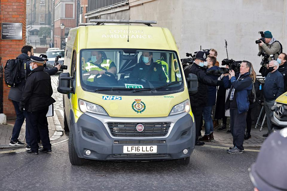 <p>An ambulance leaves from the rear entrance of King Edward VII's Hospital in central London </p> (AFP via Getty Images)