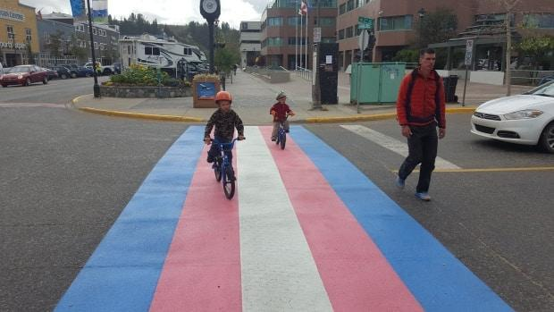A transgender pride crosswalk in downtown Whitehorse in 2018. Queer Yukon says the MLAs' text exchange was transphobic and 'dehumanizing.'