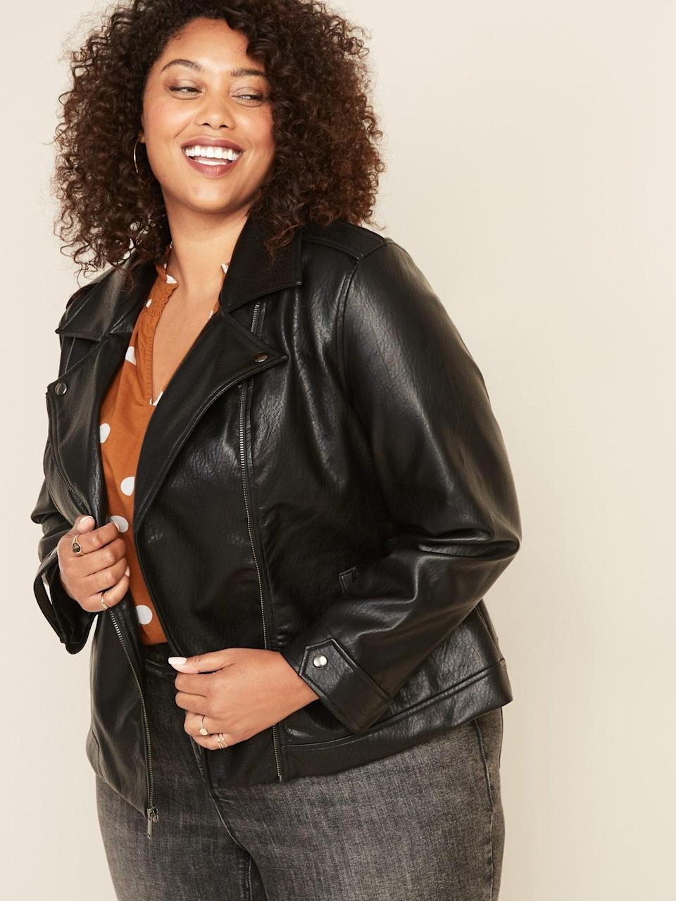 <p>This bestselling <span>Old Navy Curve Faux-Leather Moto Jacket</span> ($63) is a winner.</p>