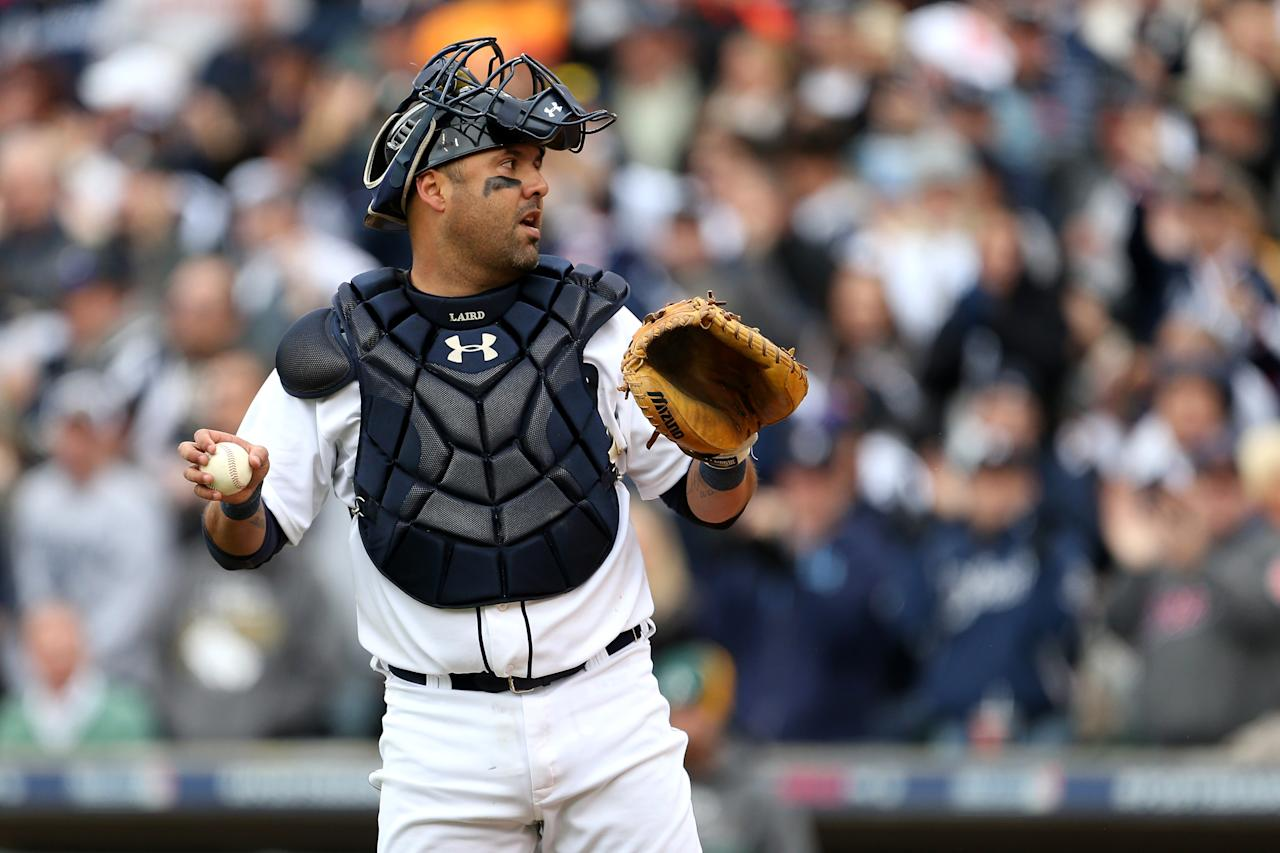 DETROIT, MI - OCTOBER 07:  Gerald Laird #9 of the Detroit Tigers looks on after he tagged out Coco Crisp #4 of the Oakland Athletics at home plate in the top of the third inning during Game Two of the American League Division Series at Comerica Park on October 7, 2012 in Detroit, Michigan.  (Photo by Leon Halip/Getty Images)