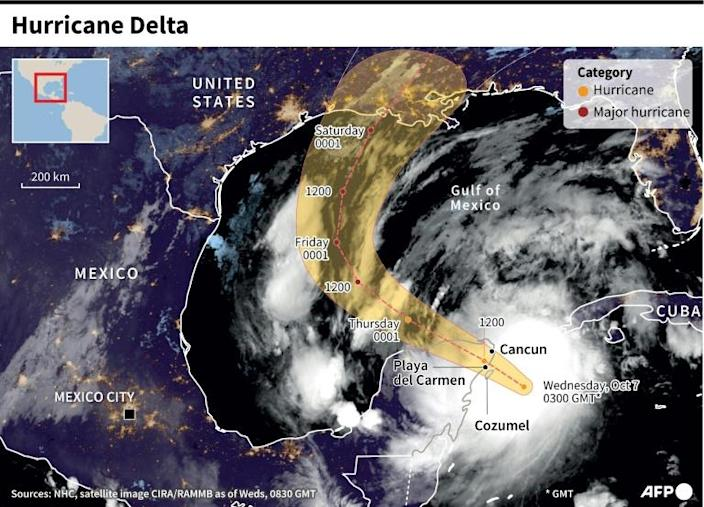 Strong winds from Hurricane Delta whipped Cancun, one of the country's most popular tourist destinations