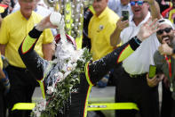 FILE - In this May 26, 2019, file photo, Simon Pagenaud, of France, celebrates by pouring milk on himself after winning the Indianapolis 500 IndyCar auto race at Indianapolis Motor Speedway in Indianapolis. The milk given to winners in Victory Lane dates to 1936, when Louis Meyer professed to drink it to refresh himself on hot days. Photographers captured him guzzling from a glass bottle and the tradition has stuck. (AP Photo/Michael Conroy, File)