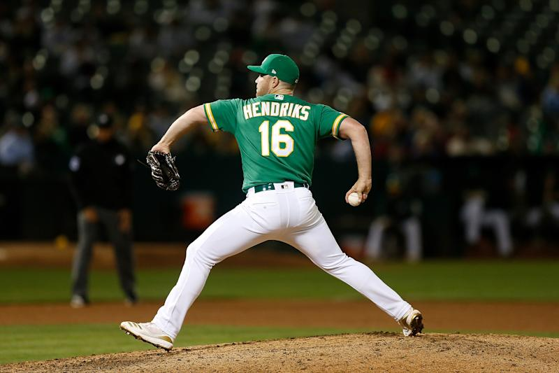 Liam Hendriks #16 of the Oakland Athletics