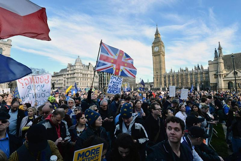 Brexit: The Pro-EU protesters gathered in Parliament Square (PA)