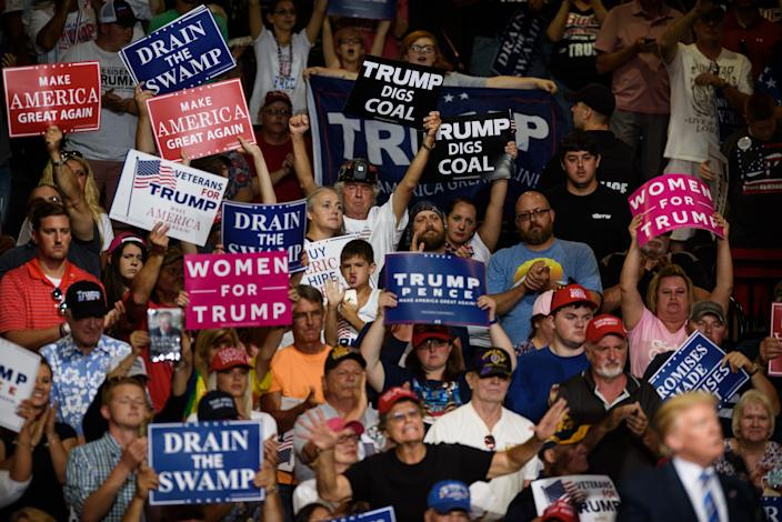 The crowd cheers as President Donald J. Trump speaks at a campaign rally at the Big Sandy Superstore Arena on Aug. 3, 2017 in Huntington, West Virginia. (Photo: Justin Merriman/Getty Images)