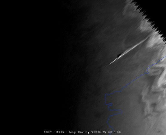 The meteor which exploded over the Urals of central Russia was seen by Meteosat-9, at the edge of the satellite view. Hundreds of people were reportedly injured as the meteor's massive sonic boom caused widespread damage. Image taken Feb. 15, 2
