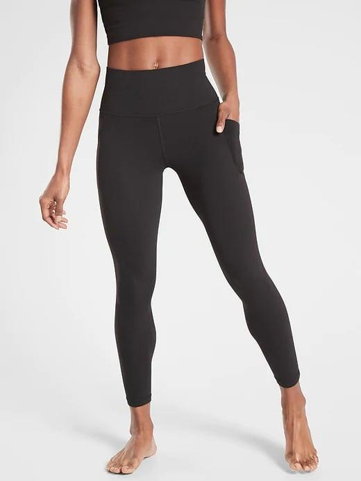 <p>The <span>Athleta Salutation Stash Pocket II 7/8 Tights</span> ($98) are the supersoft, go-to leggings when you want to feel comfy and cozy. These are great for low-impact workouts like yoga and Pilates where you aren't getting drenched in sweat.</p>