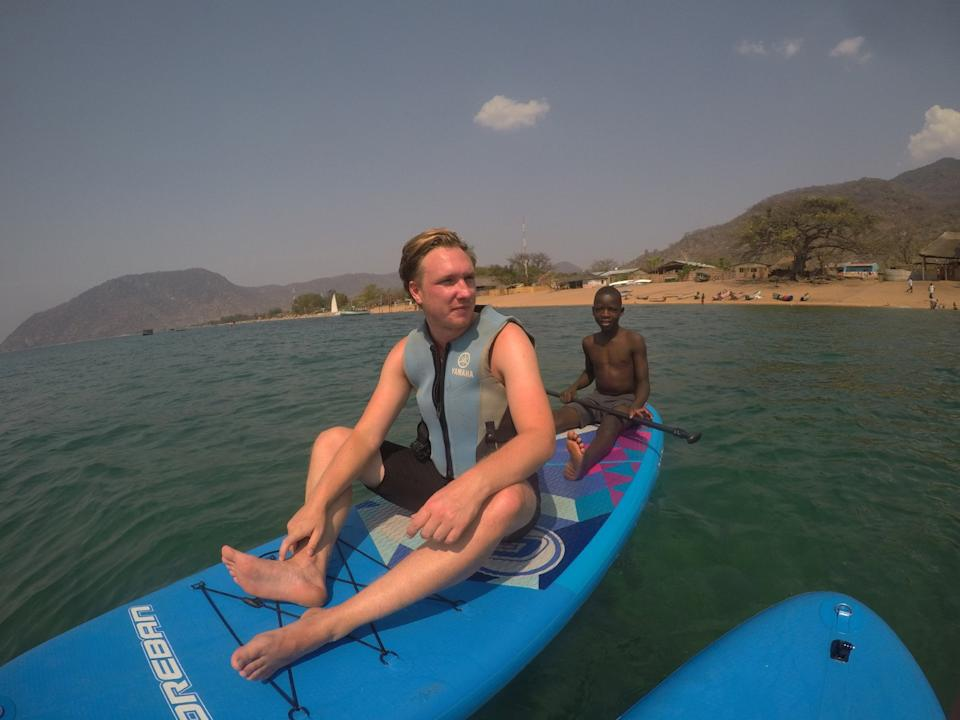 James Michael lost the use of his legs after a parasite crawled up his penis when he was swimming in Lake Malawi (Picture: SWNS)