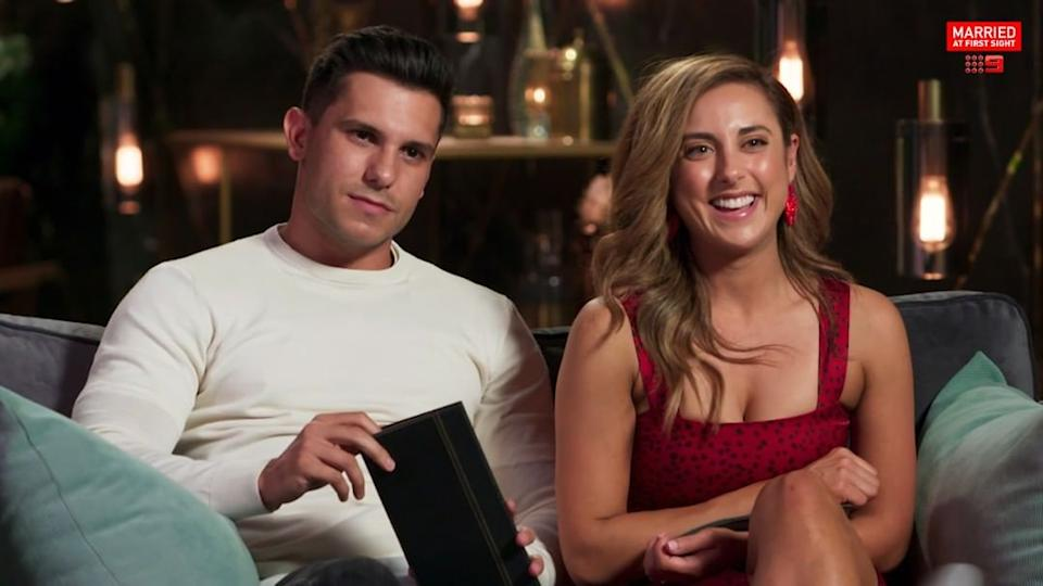 Kerry Knight has said Johnny Balbuziente on the couch on MAFS
