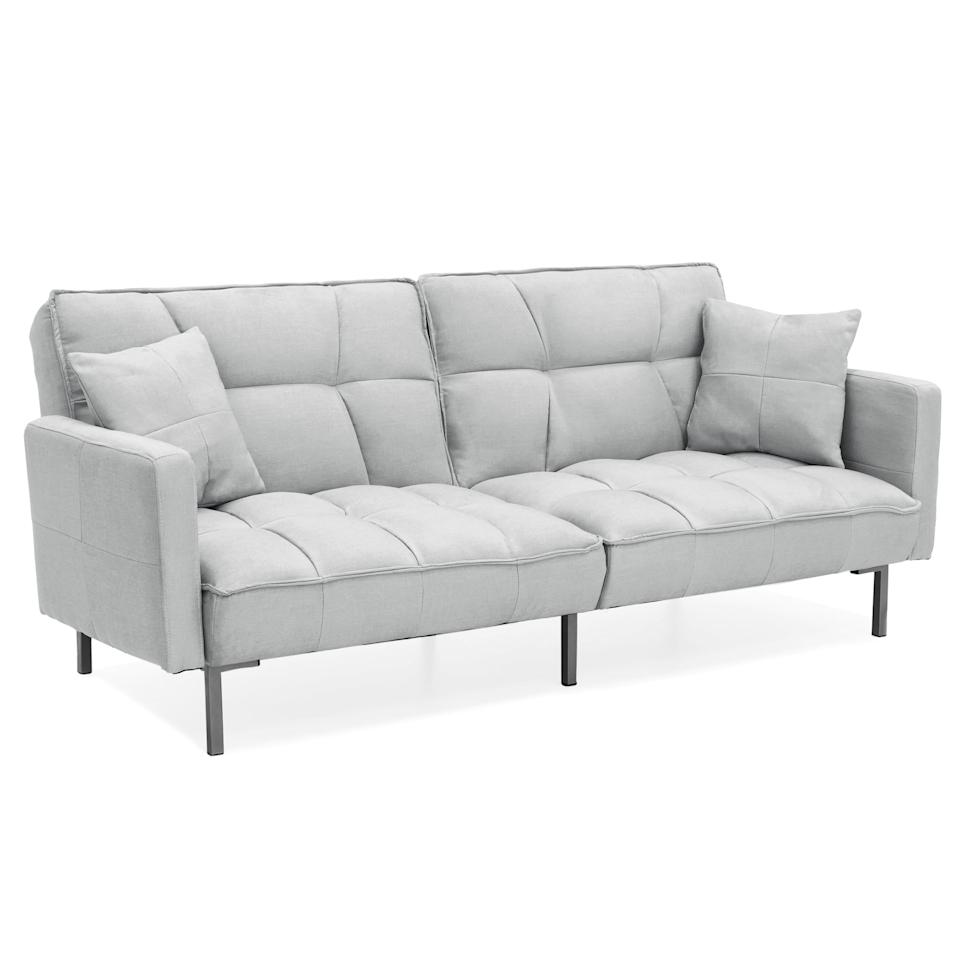 "<p>If you love modern furniture, get this <a href=""https://www.popsugar.com/buy/Best-Choice-Products-Convertible-Futon-Sofa-486090?p_name=Best%20Choice%20Products%20Convertible%20Futon%20Sofa&retailer=walmart.com&pid=486090&price=183&evar1=casa%3Aus&evar9=45894677&evar98=https%3A%2F%2Fwww.popsugar.com%2Fhome%2Fphoto-gallery%2F45894677%2Fimage%2F45894701%2FBest-Choice-Products-Convertible-Futon-Sofa&list1=shopping%2Chome%20decor%2Cfurniture%2Cwalmart%2Csofas%2Cliving%20rooms%2Chome%20shopping&prop13=mobile&pdata=1"" rel=""nofollow"" data-shoppable-link=""1"" target=""_blank"" class=""ga-track"" data-ga-category=""Related"" data-ga-label=""https://www.walmart.com/ip/Best-Choice-Products-Convertible-Futon-Linen-Tufted-Split-Back-Couch-w-Pillows-Light-Sea-Foam-Gray/388039332?athcpid=388039332&amp;athpgid=athenaItemPage&amp;athcgid=null&amp;athznid=PWVUB&amp;athieid=v0&amp;athstid=CS020&amp;athguid=8d297d80-214-16cdf31835eca9&amp;athena=true"" data-ga-action=""In-Line Links"">Best Choice Products Convertible Futon Sofa </a> ($183). It comes in tons of fun colors and converts into a bed.</p>"