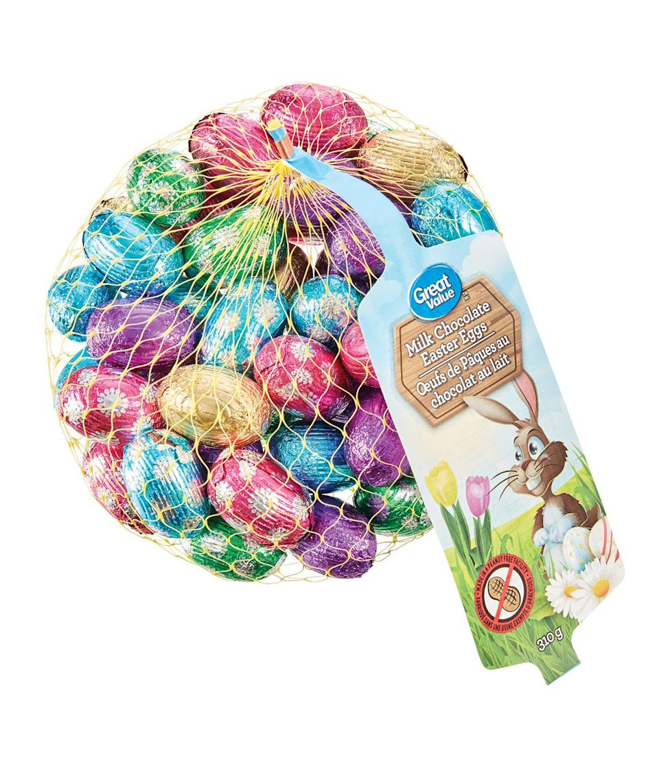 Great Value Milk Chocolate Easter Eggs. Image via Walmart.