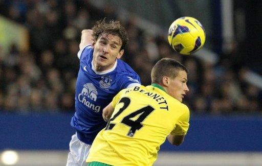 "Everton's Nikica Jelavic (L) during a Premier League match at Goodison Park stadium on November 24. ""We are looking for a bit more from him at the moment, because we are a bit short,"" said Everton manager David Moyes of Jelavic"