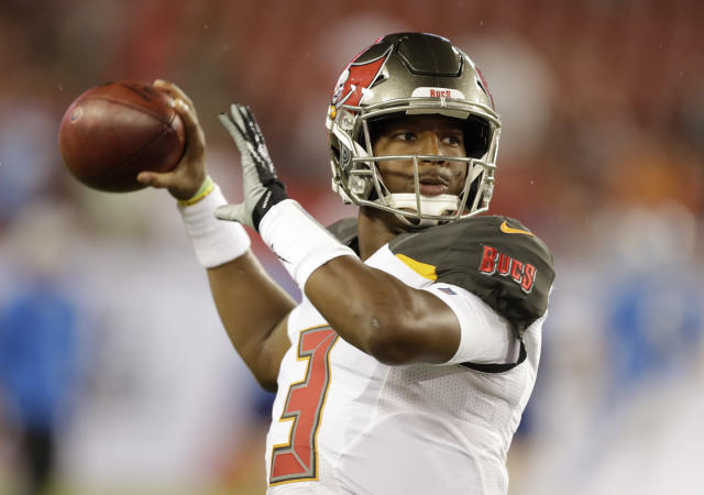 FILE - In this Friday, Aug. 24, 2018 file photo, Tampa Bay Buccaneers quarterback Jameis Winston throws a pass before an NFL preseason football game against the Detroit Lions in Tampa, Fla. By the time Jameis Winston takes another snap in an NFL game, the Tampa Bay Buccaneers will have a better idea of how much the young quarterbacks suspension for violating the league's personal conduct policy will impact the team's playoff hopes. (AP Photo/Chris O'Meara, File)