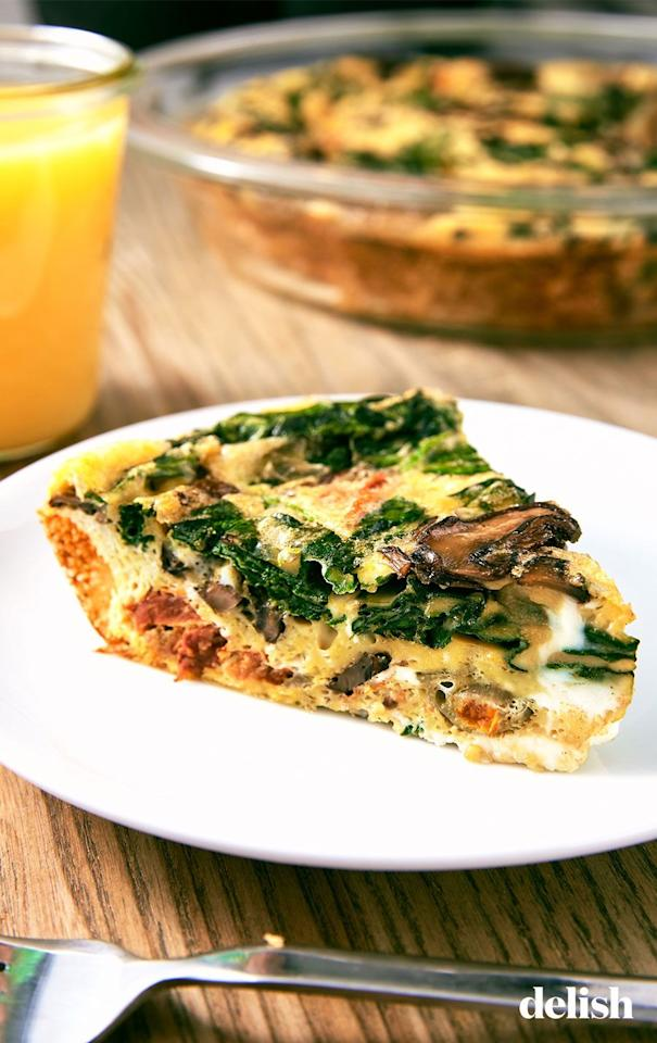"<p>Don't worry, this low-carb dish is still full of flavor.</p><p>Get the recipe from <a href=""https://www.delish.com/cooking/recipe-ideas/a25648042/crustless-quiche-recipe/"" target=""_blank"">Delish</a>. </p>"