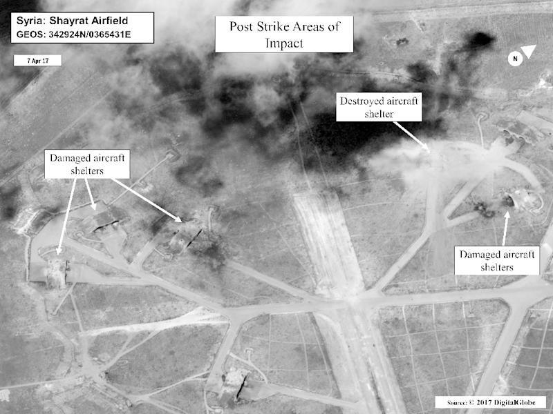 A Department of Defense satellite photo shows battle damage at Shayrat Airfield, Syria, following US missile strikes on April 7, 2017 (AFP Photo/Handout)