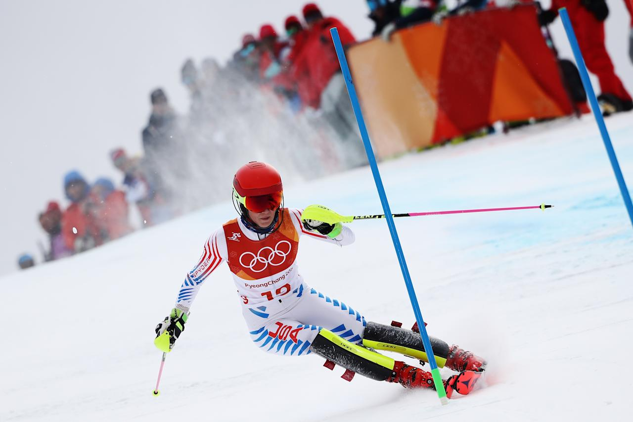<p>Mikaela Shiffrin of the United States competes during the Ladies' Alpine Combined on day thirteen of the PyeongChang 2018 Winter Olympic Games at Yongpyong Alpine Centre on February 22, 2018 in Pyeongchang-gun, South Korea. (Photo by Ezra Shaw/Getty Images) </p>