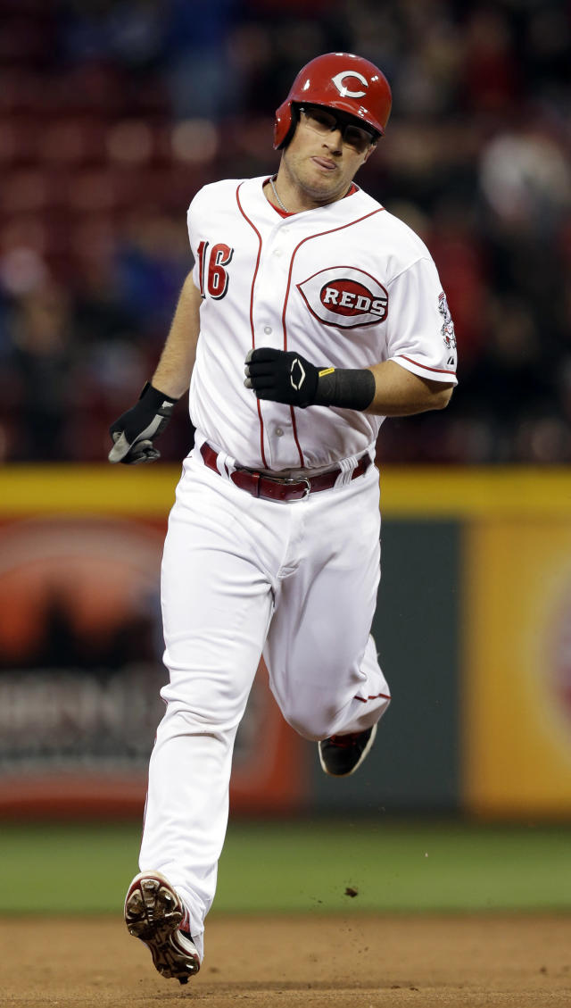 Cincinnati Reds' Tucker Barnhart rounds the bases after hitting a solo home run off Milwaukee Brewers starting pitcher Marco Estrada in the fifth inning of a baseball game, Thursday, May 1, 2014, in Cincinnati. (AP Photo/Al Behrman)