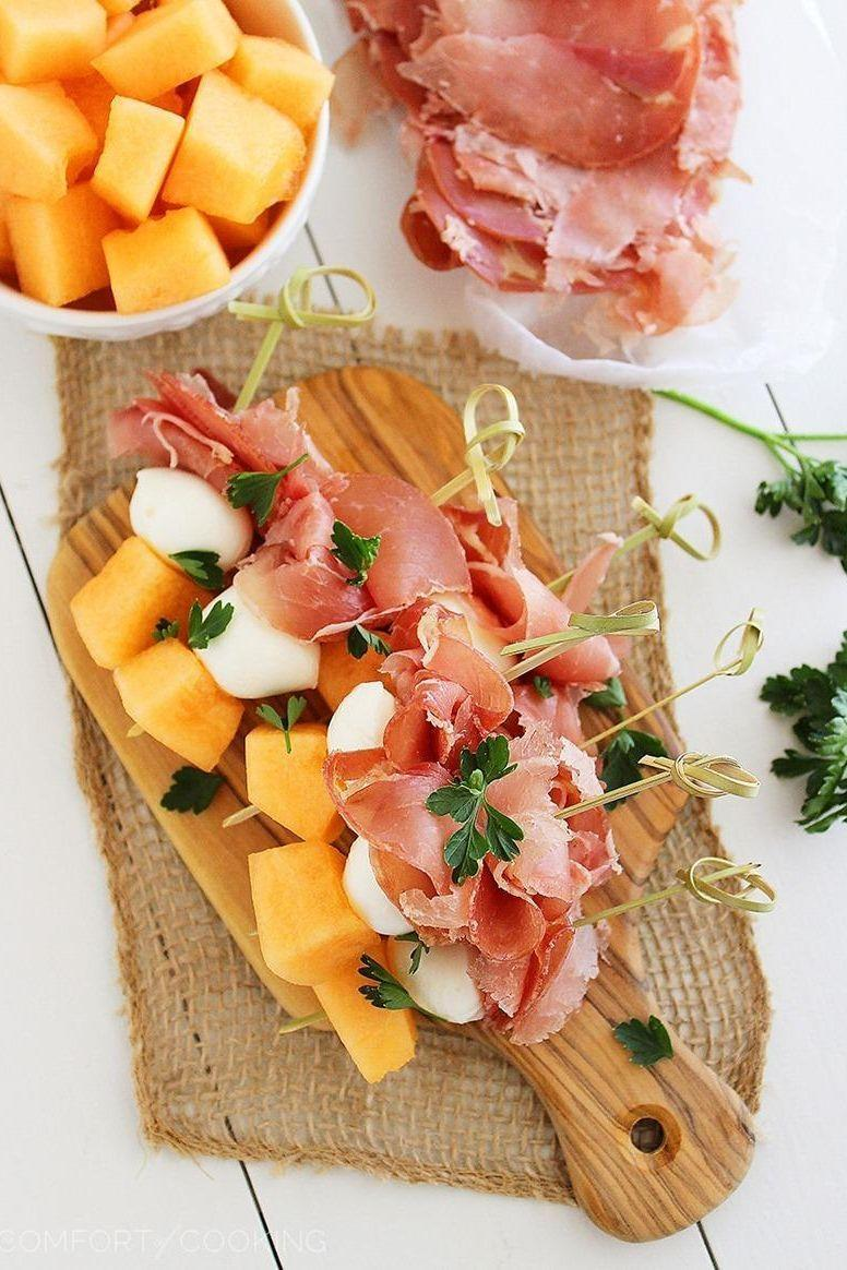 """<p>Sweet meets salty in this light, refreshing appetizer. Meanwhile, the mozz adds irresistible creaminess. </p><p><strong>Get the recipe at <a href=""""http://www.thecomfortofcooking.com/2014/04/melon-proscuitto-and-mozzarella-skewers.html"""" rel=""""nofollow noopener"""" target=""""_blank"""" data-ylk=""""slk:The Comfort of Cooking"""" class=""""link rapid-noclick-resp"""">The Comfort of Cooking</a>.</strong></p><p><strong><strong><a class=""""link rapid-noclick-resp"""" href=""""https://go.redirectingat.com?id=74968X1596630&url=https%3A%2F%2Fwww.walmart.com%2Fip%2FThe-Pioneer-Woman-Wildflower-Whimsy-21-Inch-Turkey-Platter%2F488343750&sref=https%3A%2F%2Fwww.thepioneerwoman.com%2Ffood-cooking%2Fmeals-menus%2Fg32157273%2Ffourth-of-july-appetizers%2F"""" rel=""""nofollow noopener"""" target=""""_blank"""" data-ylk=""""slk:SHOP PLATTERS"""">SHOP PLATTERS</a></strong><br></strong></p>"""