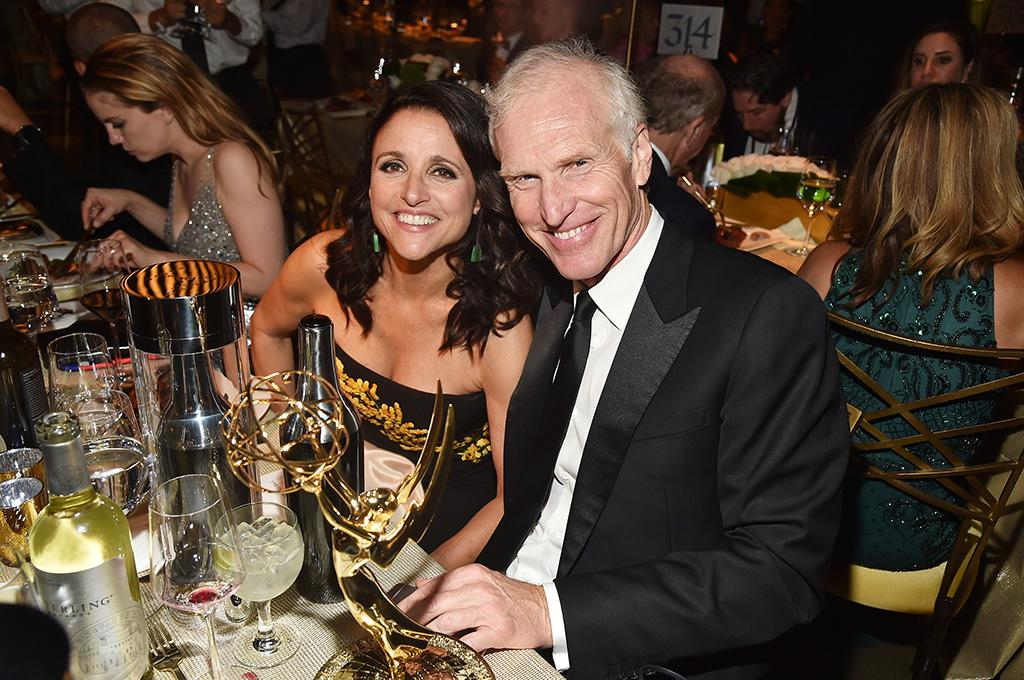 <p><em>Veep</em>'s Julia Louis-Dreyfus made history with her sixth consecutive win for Outstanding Lead Actress in a Comedy Series (that's the most Emmys ever won by a single performer for one role) and celebrated with her hubby, Brad Hall, at the Governors Ball, as Anna Chlumsky sampled the menu beside them. (Photo: Alberto E. Rodriguez/Getty Images) </p>