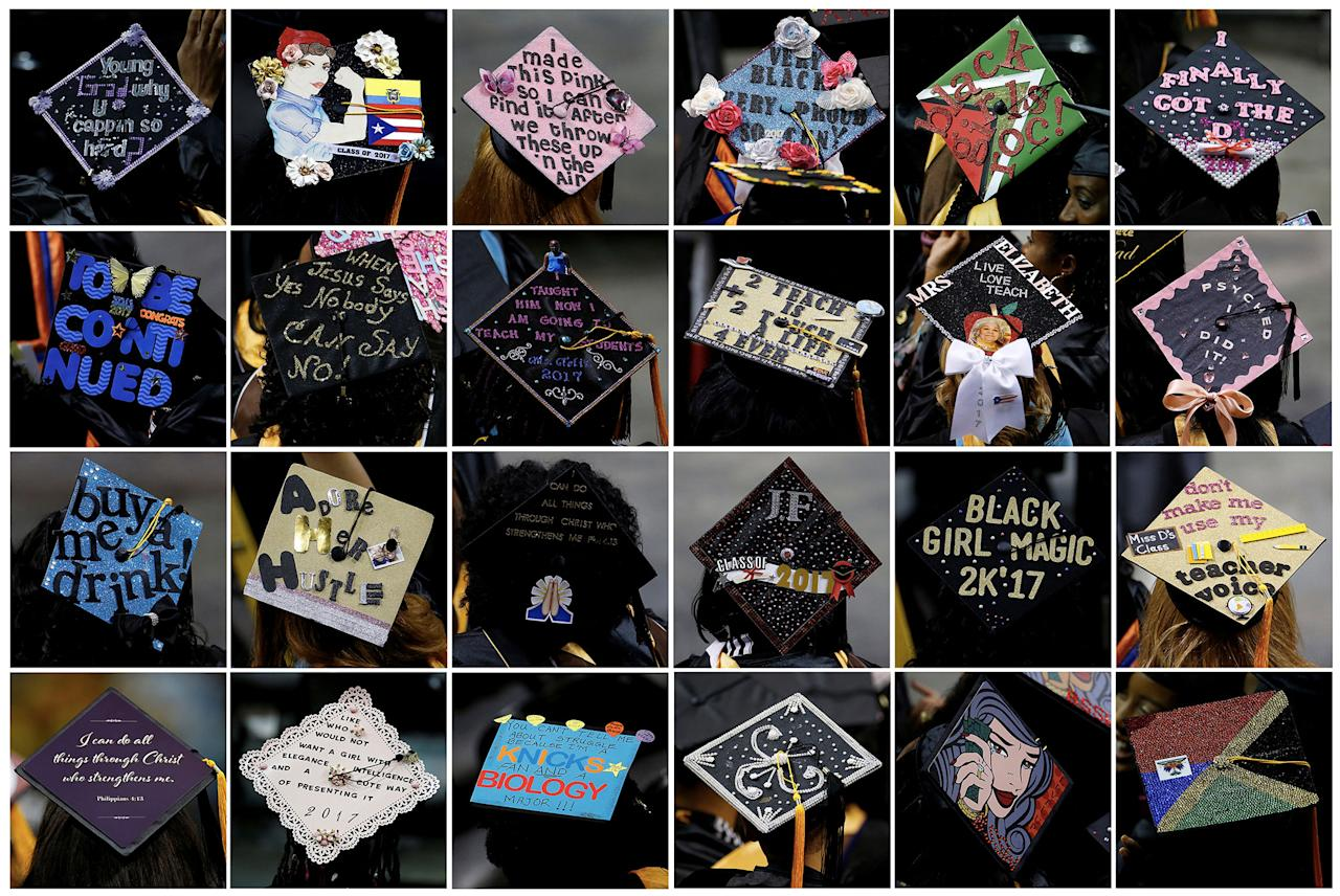 <p>This combination photo shows graduates' mortar board hats emblazoned with decorations and sayings during a commencement for Medgar Evers College in the Brooklyn borough of New York City, New York, June 8, 2017. (Photo: Carlo Allegri/Reuters) </p>
