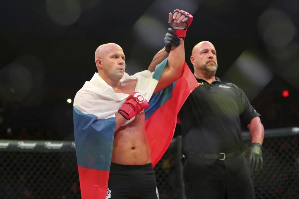 Fedor Emelianenko is declared the victor over Chael Sonnen at Bellator 208, in Uniondale, New York, on Saturday, Oct. 13, 2018. (AP Photo/Gregory Payan)