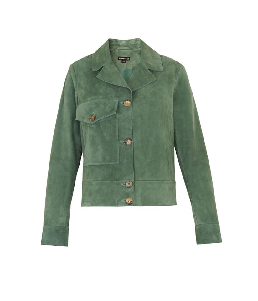 "<p>Jaz Patch Pocket Jacket, $687 (on sale $410), <a rel=""nofollow"" href=""http://www.whistles.com/women/sale/limited/jaz-patch-pocket-jacket-24847.html?dwvar_jaz-patch-pocket-jacket-24847_color=Green"">whistles.com</a> </p>"