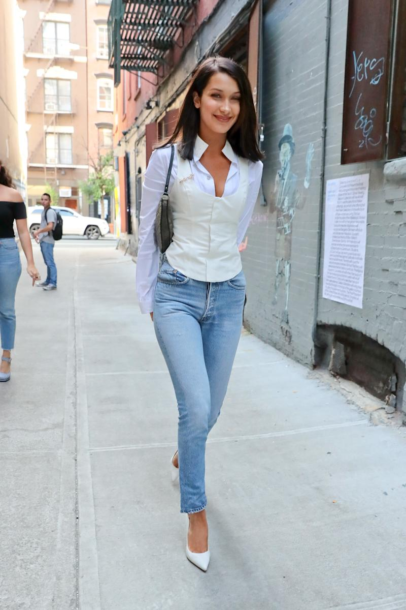 Bella Hadid is seen on August 26, 2017 in New York City. (Photo by Ignat/Bauer-Griffin/GC Images)