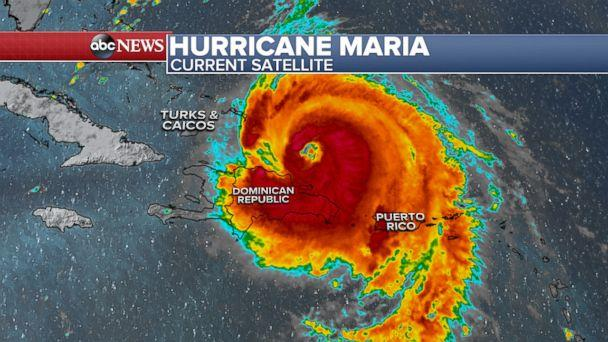 PHOTO: Hurricane Maria was located about 85 miles east-northeast of Puerto Plata, Dominican Republic, as of 2 p.m. ET, Sept. 21, 2017. (ABC News)