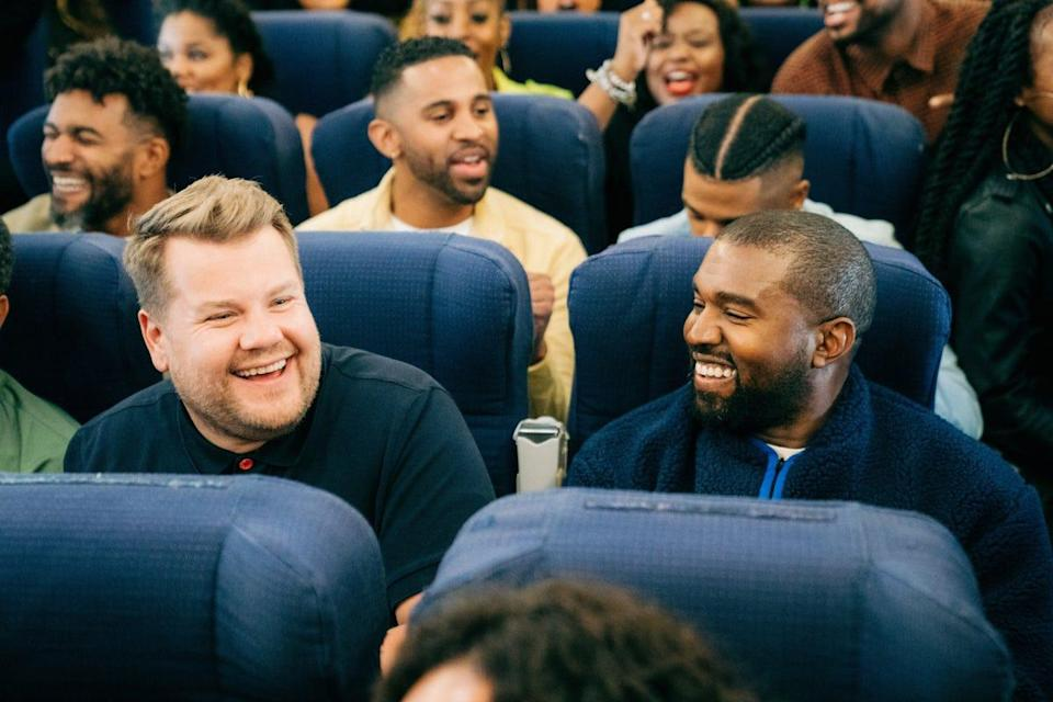 """Kanye West and James Corden film """"Airpool Karaoke"""" for """"The Late Late Show."""""""