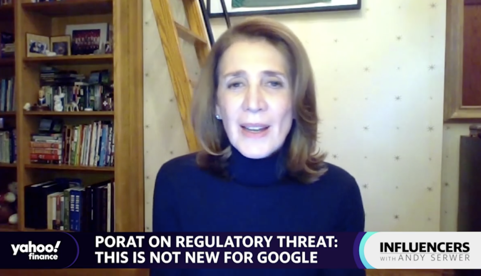 Ruth Porat, Google's Chief Financial Officer, talks to Yahoo's Chief Financial Editor, Andy Serwer, on a program of