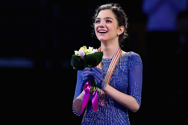 <p>Evgenia Medvedeva of Russia celebrates after winning the gold medal following her performance in the Ladies Free Skate program on Day 6 of the ISU World Figure Skating Championships 2016 at TD Garden on April 2, 2016 in Boston, Massachusetts. (Photo by Maddie Meyer/Getty Images) </p>