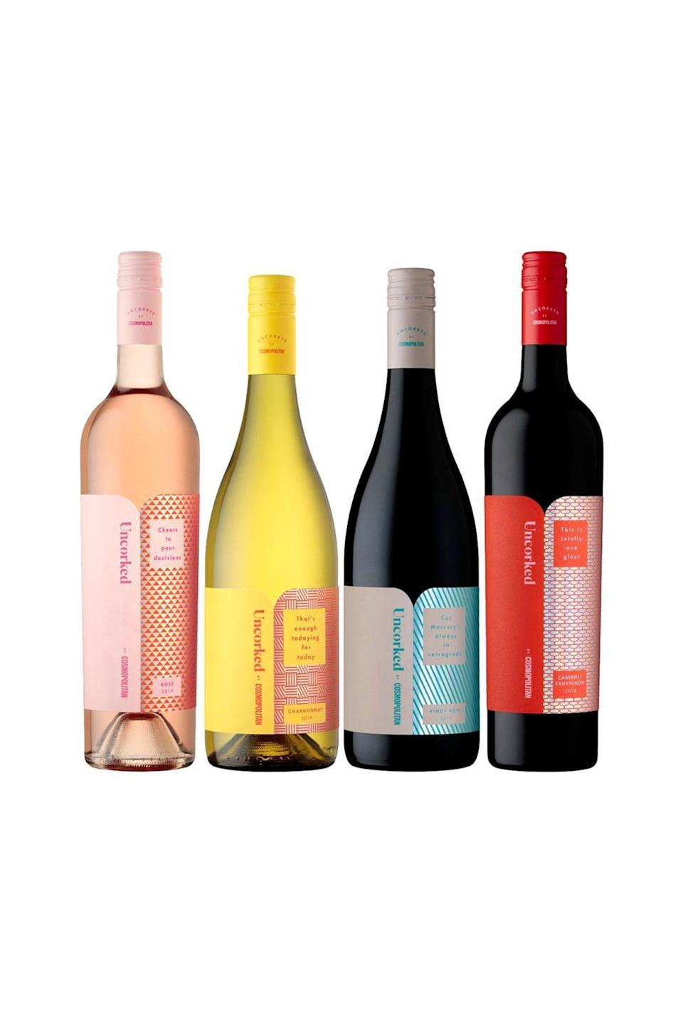 "<p><strong>Uncorked by Cosmopolitan</strong></p><p>Wine.com</p><p><strong>$58.99</strong></p><p><a href=""https://go.redirectingat.com?id=74968X1596630&url=https%3A%2F%2Fwww.wine.com%2Fproduct%2Funcorked-by-cosmopolitan-tasting-set%2F681314&sref=https%3A%2F%2Fwww.cosmopolitan.com%2Fstyle-beauty%2Ffashion%2Fg20108306%2Fbest-last-minute-mothers-day-gifts%2F"" rel=""nofollow noopener"" target=""_blank"" data-ylk=""slk:Shop Now"" class=""link rapid-noclick-resp"">Shop Now</a></p><p>And speaking of wine... Ahem, we (as in <em>Cosmo</em>) make a pretty stellar line-up of vino, ourselves. Not only is it absolutely delish, but the whole set can be delivered in just a few short days.</p>"