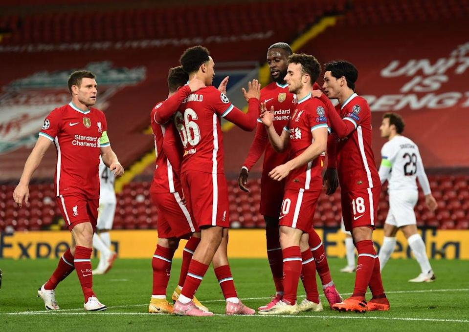 Liverpool celebrate scoring (Liverpool FC via Getty Images)