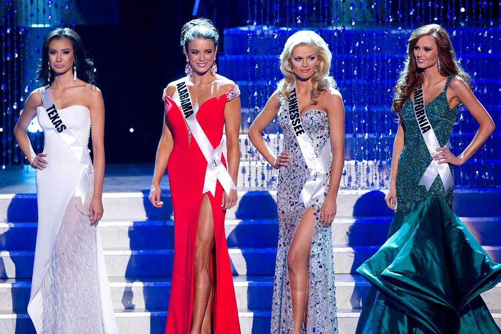 Miss Texas Ana Christina Rodriguez, Miss Alabama Madeline Mitchell, Miss Tennessee Ashley Durham, and Miss California Alyssa Campanella are the final four contestants in the 2011 Miss USA Pageant held at Planet Hollywood Resort and Casino in Las Vegas, Nevada on June 19, 2011.