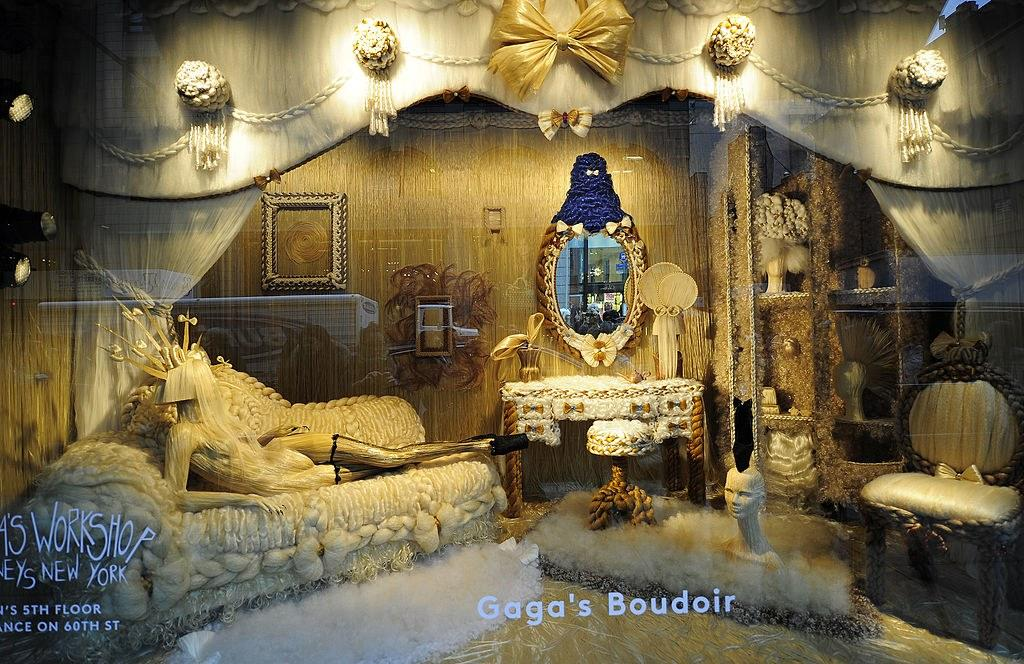 """A view of """"Lady Gaga's boudoir"""" shopping window, as part of the Lady Gaga's workshop, a holiday retail experience representing Lady Gagas reinterpretation of Santa's workshop at Barneys New York in Midtown Manhattan, November 2011. Photo courtesy of Getty Images."""