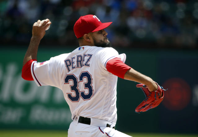 Rangers pitcher Martin Pérez can't seem to escape the bull that injured him this winter. (AP Photo/Michael Ainsworth)