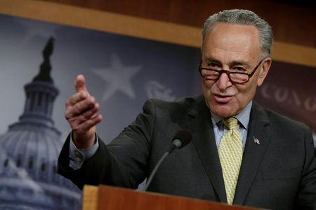 Senate Minority Leader Chuck Schumer speaks during a news conference
